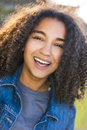 Mixed Race African American Girl Teenager With Perfect Teeth Royalty Free Stock Photos - 74490468