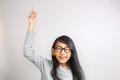 Little Girl Raise Her Hand And Pointing Finger Up Stock Image - 74495361