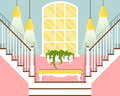 Vector Illustration With Hallway Stairs In Flat Style Royalty Free Stock Images - 74522689