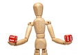 Wooden Puppet With Dice Stock Photography - 74529592