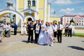 Wedding Ceremony In Russian Orthodox Church. Royalty Free Stock Image - 74532306