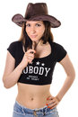 Beautiful Slim Brunette Girl In A Cowboy Hat Royalty Free Stock Photos - 74541498