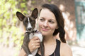 Woman Portait With Dog Royalty Free Stock Photo - 74545215