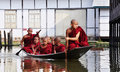 Buddhist Monks Rowing Boats On The Lake In Shan, Myanmar Royalty Free Stock Photo - 74554285