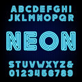 Retro Blue Neon Tube Alphabet. Type Letters And Numbers. Stock Photo - 74556800