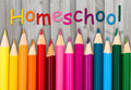 Pencil Crayons With Text Homeschool Royalty Free Stock Images - 74561449