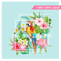 Floral Graphic Design - Tropical Flowers And Bird - For T-shirt Stock Images - 74564554