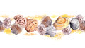 Seamless Border Stripe With Sea Shells In Sand. Aquarelle Frame Royalty Free Stock Photo - 74590945