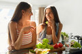 Healthy Eating Women Cooking Salad In Kitchen. Fitness Diet Food Royalty Free Stock Images - 74591879