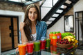 Diet Nutrition. Woman With Fresh Juice Smoothie In Kitchen Stock Photography - 74592052