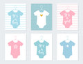Babies Bodysuits Clothes On Hangers. Baby Announcement Cards. It S A Boy. It S A Girl. Hand Lettering Signs Stock Photo - 74595220