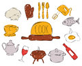 Colourful Childrens Illustration With A Pencil. The Collection Of Linear Hand Drawn Icons. Icons Tools The Chefs. Vector Royalty Free Stock Photos - 74597628