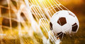Soccer Ball In Goal Royalty Free Stock Photography - 74597877