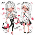Two Cute Cartoon Girls With Bags Royalty Free Stock Photo - 74648735