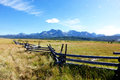 Crooked Rail Fence & Sawtooth Mountains Royalty Free Stock Photography - 74651637