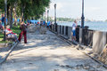 Reconstruction Of The Sidewalk On The Waterfront River Don Royalty Free Stock Photo - 74656505