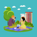 Vector Illustration Of Summer Recreation. Family Picnic And Camping In A Park Flat Icons Stock Photos - 74657143