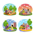 Vector Illustration Of Summer Recreation. Family Picnic And Camping In A Park Flat Icons Royalty Free Stock Photography - 74657437