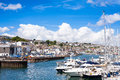Falmouth Town And Harbour Marina From Afar Royalty Free Stock Images - 74661389