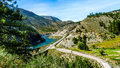 Railways And The Trans Canada Highway Follow The Thompson River Royalty Free Stock Photo - 74671255