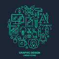 Graphic Designer Profession Pattern With Turquoise Linear Icons. Royalty Free Stock Photo - 74674955