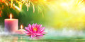 Spa - Serenity And Meditation With Candles And Waterlily Royalty Free Stock Photo - 74677685