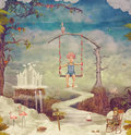 Small Boy On A Swing In  Sky ,illustration Art Royalty Free Stock Photos - 74681888