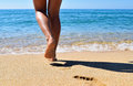 Summer, Beach, Leisure And Body Part Concept - Closeup Of Woman Legs On Sea, Woman Goes To The Sea Stock Images - 74689084