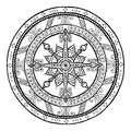 Christmas Theme. Doodle Snowflake On Ethnic Circle Ornament. Hand Drawn Art Winter Mandala. Stock Photos - 74692563