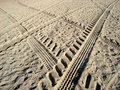 Tyres Prints In Sand Stock Image - 7478661