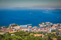 An Aerial View Of Gibraltar, Its Marina And The Mediterranean Se Stock Image - 74702371