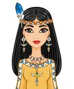 The Attractive Animation Girl In Clothes Of The American Indian. Royalty Free Stock Photography - 74705327