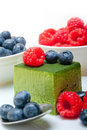Green Tea Matcha Mousse Cake With Berries Stock Image - 74710291