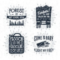 Hand Drawn Badges Set With Saw, Logging Truck, Matches, And Jerrycan Illustrations. Stock Images - 74719324
