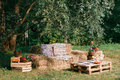 Sofa Made From Straw, Outdoor Furniture, Cowboy Party. Wooden Of A Pallet Stock Photos - 74721683