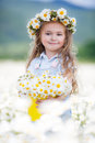 Cute Little Girl With Yellow Bucket White Daisies Stock Images - 74748274