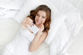 Beautiful Girl Making Selfie In The Bed. Stock Photography - 74748632