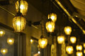 Antique Pendant Lamps At Night. Royalty Free Stock Photography - 74750667