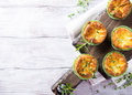 Savory Cheddar Cheese And Leek Mini Quiches Royalty Free Stock Image - 74751426