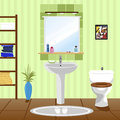 Interior Of Green Bathroom With Sink, Toilet Royalty Free Stock Photos - 74756738
