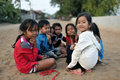 Happy Poor Cute Girl In Asia Village, Cambodia Royalty Free Stock Photography - 74759537
