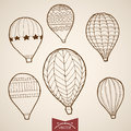 Engraving Vintage Hand Drawn Vector Flying Balloon Royalty Free Stock Image - 74773736