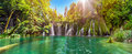 Amazing Waterfall Panorama  In Plitvice Lakes National Park, Cro Stock Photos - 74789853