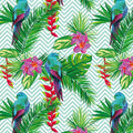 Beautiful Seamless Tropical Jungle Floral Pattern Background With Palm Leaves, Flowers And Parrots. Abstract Striped Royalty Free Stock Photo - 74795785