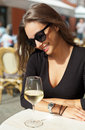 Wine Tasting Tourist Woman. Stock Images - 74797544
