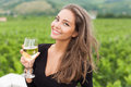 Wine Tasting Tourist Woman. Stock Image - 74797631