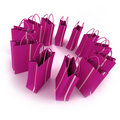 Bright Pink Shopping Bags In A Circle Stock Photo - 7488340