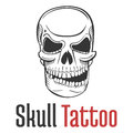 Smirking And Scary Human Skull Tattoo With Grin And Naked Teeth. Fearsome And Dangerous, Grim And Dreadful, Fatal And Stock Images - 74805264