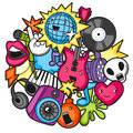 Music Party Kawaii Design. Musical Instruments, Symbols And Objects In Cartoon Style Stock Image - 74810911