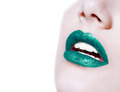 Woman  Lips With Glossy Green Lipstick Royalty Free Stock Photos - 74816118